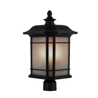 Cambridge Black Finish Outdoor Post Head with Tea Stain Shade
