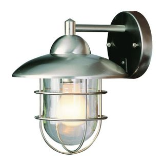Cambridge Stainless Steel Finish Outdoor Wall Sconce with Clear Shade