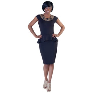 Kayla Collection Women's Embellished Neck Peplum Party Dress