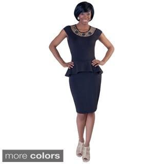 Kayla Collection Women's Embellished Neck Peplum Party Dress