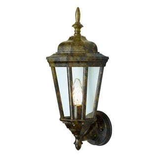 Cambridge Black Gold Finish Outdoor Wall Lantern with Clear Shade