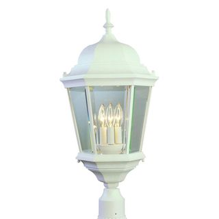Cambridge White Finish Outdoor Post Head with Beveled Shade