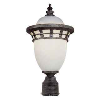 Cambridge Antique Pewter Finish Outdoor Post Head with Frosted Shade
