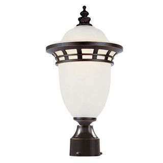 Cambridge Bronze Finish Outdoor Post Head with Frosted Shade