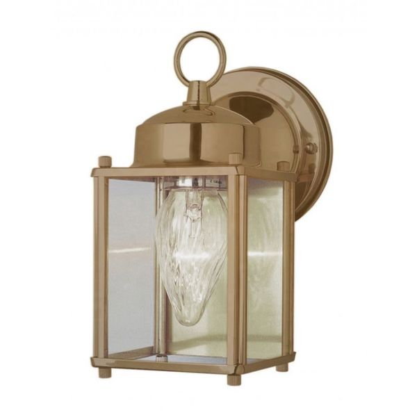 Cambridge antique Brass Finish Outdoor Wall Sconce with Clear Shade