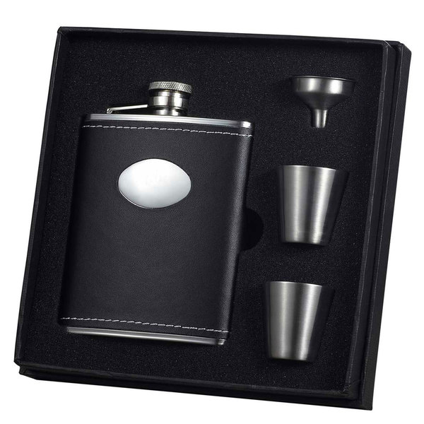 Visol Eclipse Z Black Leather Flask Cup and Funnel Gift Set