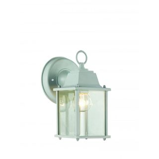 Cambridge White Finish Outdoor Wall Sconce with Beveled Shade