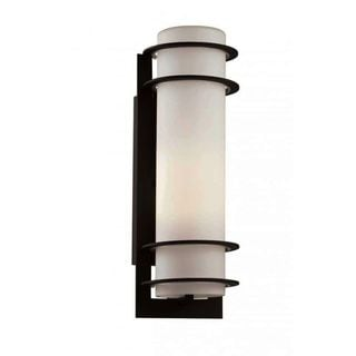 Cambridge Outdoor Black Finish Wall Sconce with White Shade