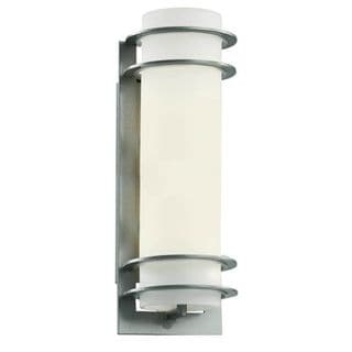 Cambridge Silver Finish Outdoor Wall Sconce with White Shade
