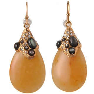 De Buman 18k Yellow Goldplated Yellow Jade and Grey Shell Earrings