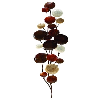 Metal Brown Floral Wall Decoration