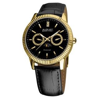 August Steiner Men's Swiss Quartz Multifunction Diamond Leather Strap Watch