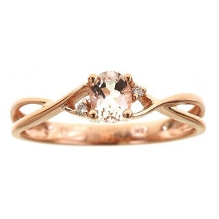 Anika and August 14k Rose Gold Oval-cut Morganite Diamond Accent Ring