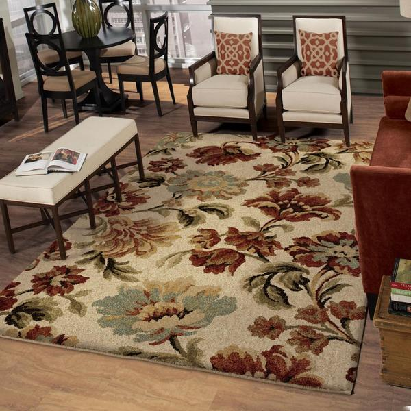"Euphoria Collection Floral Ecstacy Bisque Area Rug (5'3"" x 7'6"")"