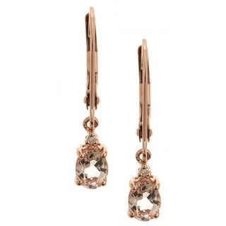 Anika and August 14k Rose Gold Morganite Diamond Accent Leverback Earrings