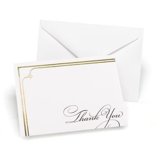 Golden Elegance Thank You Note Cards (Set of 50)