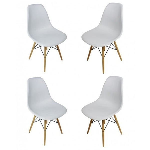 Light Gray Eiffel Style Plastic Dining Shell Chair (Set of 4)