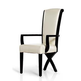 Modrest A&X Transitional 'X' Leg White Crocodile Leather Dining Arm Chair (Set of 2)