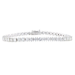 Sterling Silver Round White Zircon Tennis Bracelet