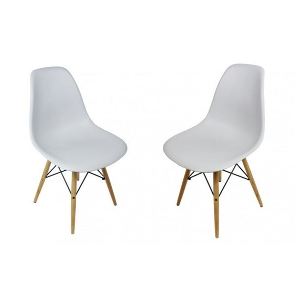 Light Gray Eiffel Style Plastic Dining Shell Chair (Set of 2)