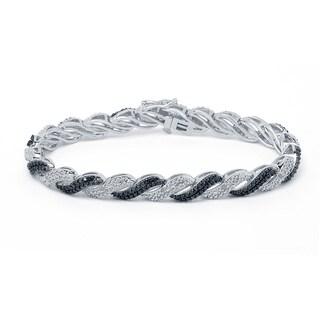 Silvertone 1/2ct Black and White Diamond Fashion Bracelet (I-J, I2-I3)