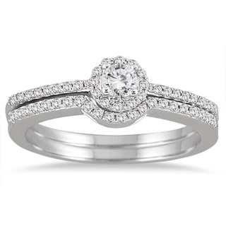10K White Gold 2/5CT Diamond Halo Bridal Set (I-J, I1-I2)