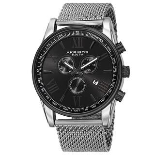 Akribos XXIV Men's Swiss Quartz Chronograph Stainless Steel Mesh Strap Watch