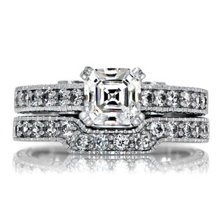 Sterling Silver Asscher Cut Cubic Zirconia Wedding Ring Set