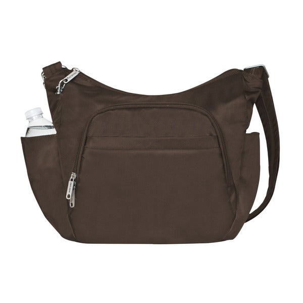 Travelon Chocolate Anti-theft Crossbody Bucket Tote