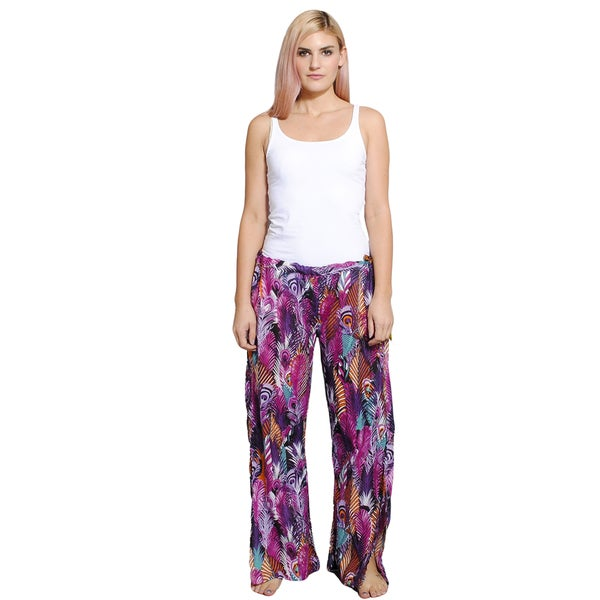 Women's Peacock Feather Printed Palazzo Pants (Nepal)