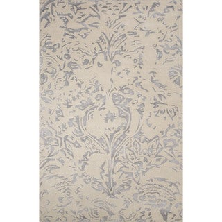Hand-Tufted Abstract Pattern Ivory/ Blue Area Rug (8' x 10')