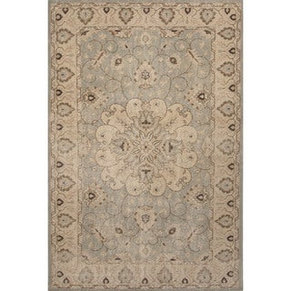 Hand-Knotted Oriental Pattern Blue/ Ivory Area Rug (8' x 11')