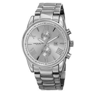Akribos XXIV Men's Swiss Quartz Dual-Time Multifunction Stainless Steel Silver-Tone Bracelet Watch