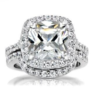 Sterling Silver Cushion Cut Cubic Zirconia Wedding Ring Set