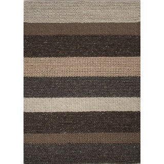 Textured Solid Pattern Brown/ Grey Area Rug (8' x 10')