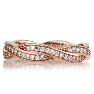 Rose Goldtone Sterling Silver Twisted Cubic Zirconia Wedding Band