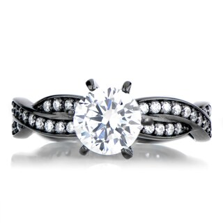 Black Plated Sterling Silver Twisted Cubic Zirconia Engagement Ring