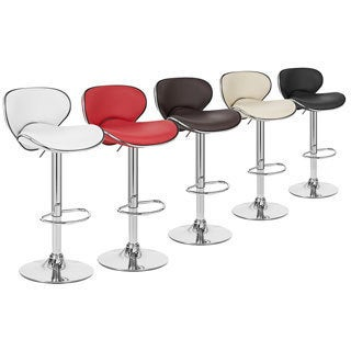 Contemporary Black And White Vinyl Adjustable Bar Stool