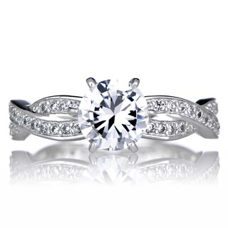 Sterling Silver Twisted Cubic Zirconia Engagement Ring