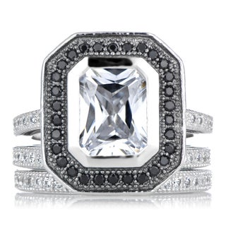 Sterling Silver Cubic Zirconia Wedding Ring Set with Black Halo