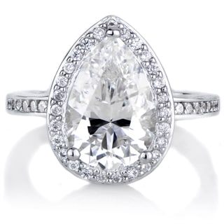 Sterling Silver Cubic Zirconia Pear Cut Halo Engagement Ring