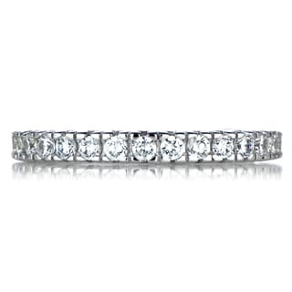 Sterling Silver Thin Stackable Cubic Zirconia Eternity Ring