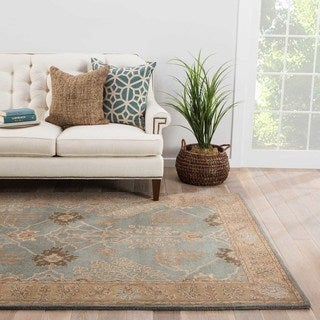Hand-Tufted Oriental Pattern Blue/ Brown Area Rug (9'6 x 13'6)