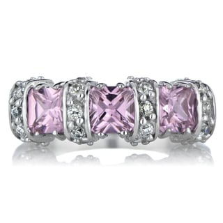 Sterling Silver Pink Cubic Zirconia Princess Ring