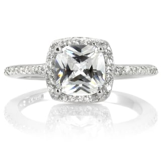 Sterling Silver Cubic Zirconia Halo Cushion Cut Engagement Ring