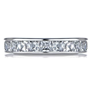 Sterling Silver Channel Set Cubic Zirconia Eternity Ring