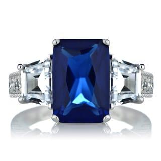 Sterling Silver Three Stone Emerald-cut Blue Cubic Zirconia Ring