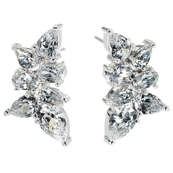 Cubic Zirconia Cluster Earrings