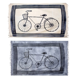 Bicycle Print Cotton Tapestry Wall Hanging (India)