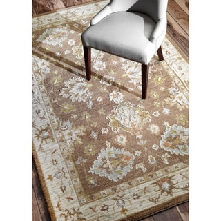 nuLOOM Oriental Traditional Floral Brown Rug (8'6 x 11'6)